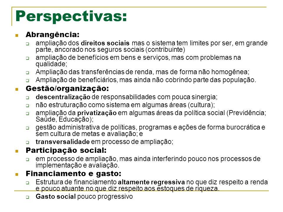 Perspectivas: Abrangência: ampliação dos direitos sociais mas o sistema tem limites por ser, em grande parte, ancorado nos seguros sociais (contribuin