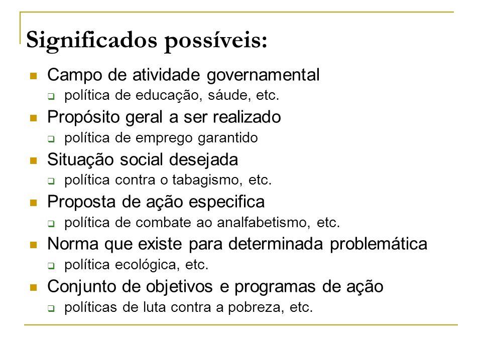 Significados possíveis: Campo de atividade governamental política de educação, sáude, etc. Propósito geral a ser realizado política de emprego garanti