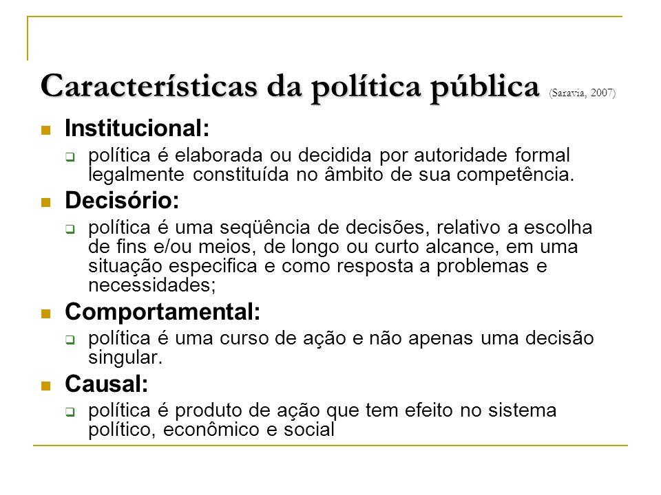 Características da política pública Características da política pública (Saravia, 2007) Institucional: política é elaborada ou decidida por autoridade