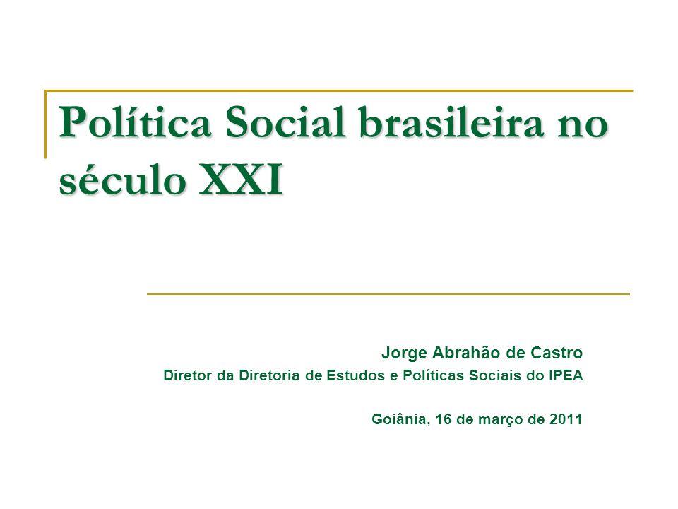 Política Social brasileira no século XXI Jorge Abrahão de Castro Diretor da Diretoria de Estudos e Políticas Sociais do IPEA Goiânia, 16 de março de 2