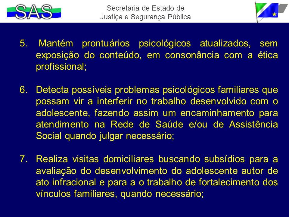 5. Mantém prontuários psicológicos atualizados, sem exposição do conteúdo, em consonância com a ética profissional; 6.Detecta possíveis problemas psic