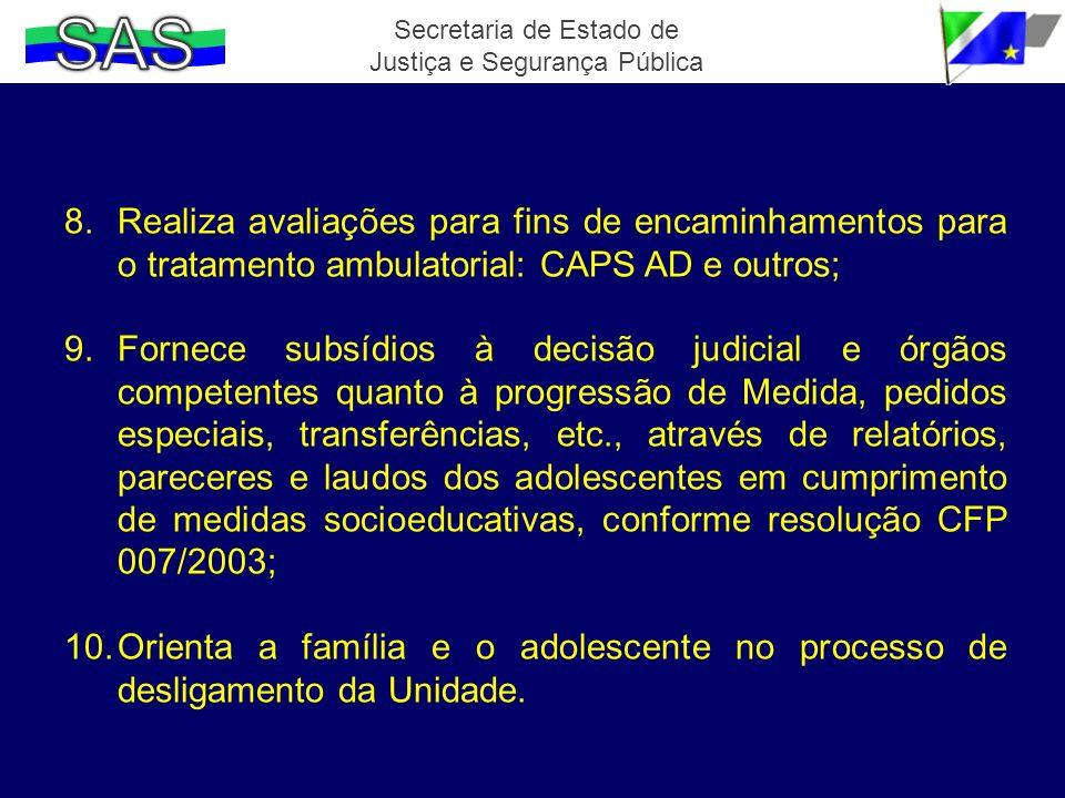 8.Realiza avaliações para fins de encaminhamentos para o tratamento ambulatorial: CAPS AD e outros; 9.Fornece subsídios à decisão judicial e órgãos co