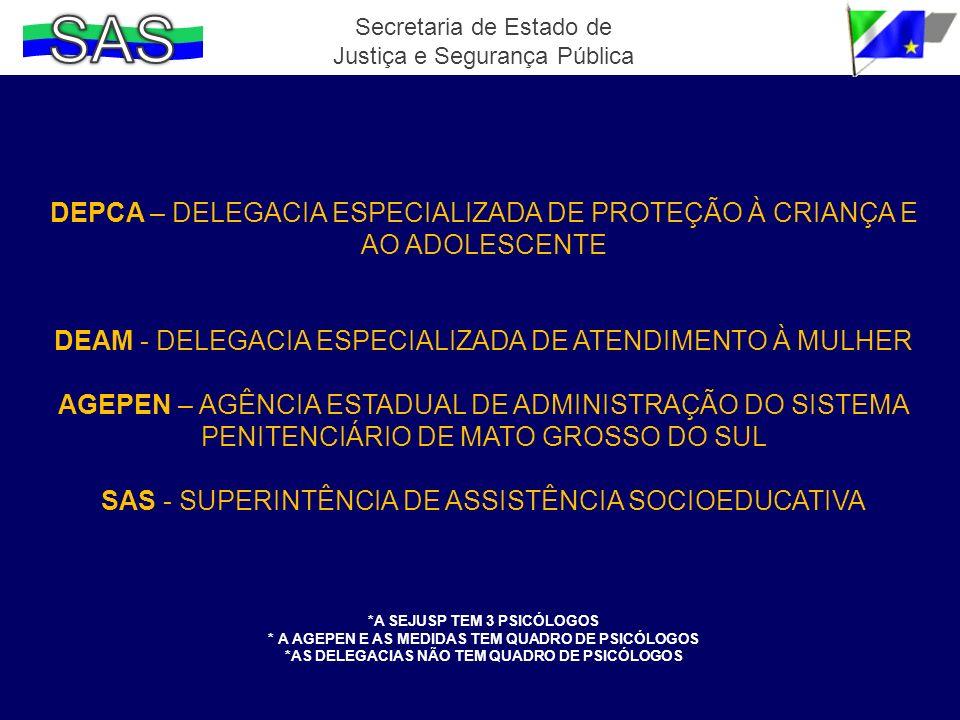 Secretaria de Estado de Justiça e Segurança Pública DEPCA – DELEGACIA ESPECIALIZADA DE PROTEÇÃO À CRIANÇA E AO ADOLESCENTE DEAM - DELEGACIA ESPECIALIZ