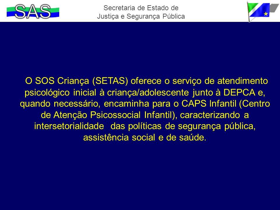 O SOS Criança (SETAS) oferece o serviço de atendimento psicológico inicial à criança/adolescente junto à DEPCA e, quando necessário, encaminha para o