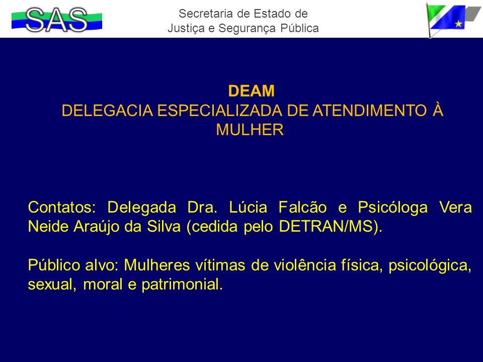 DEAM DELEGACIA ESPECIALIZADA DE ATENDIMENTO À MULHER Contatos: Delegada Dra. Lúcia Falcão e Psicóloga Vera Neide Araújo da Silva (cedida pelo DETRAN/M