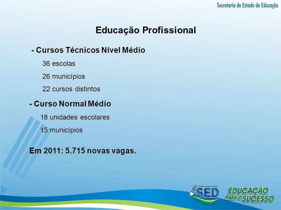 Educação Profissional - Cursos Técnicos Nível Médio 36 escolas 26 municípios 22 cursos distintos - Curso Normal Médio 18 unidades escolares 15 municíp