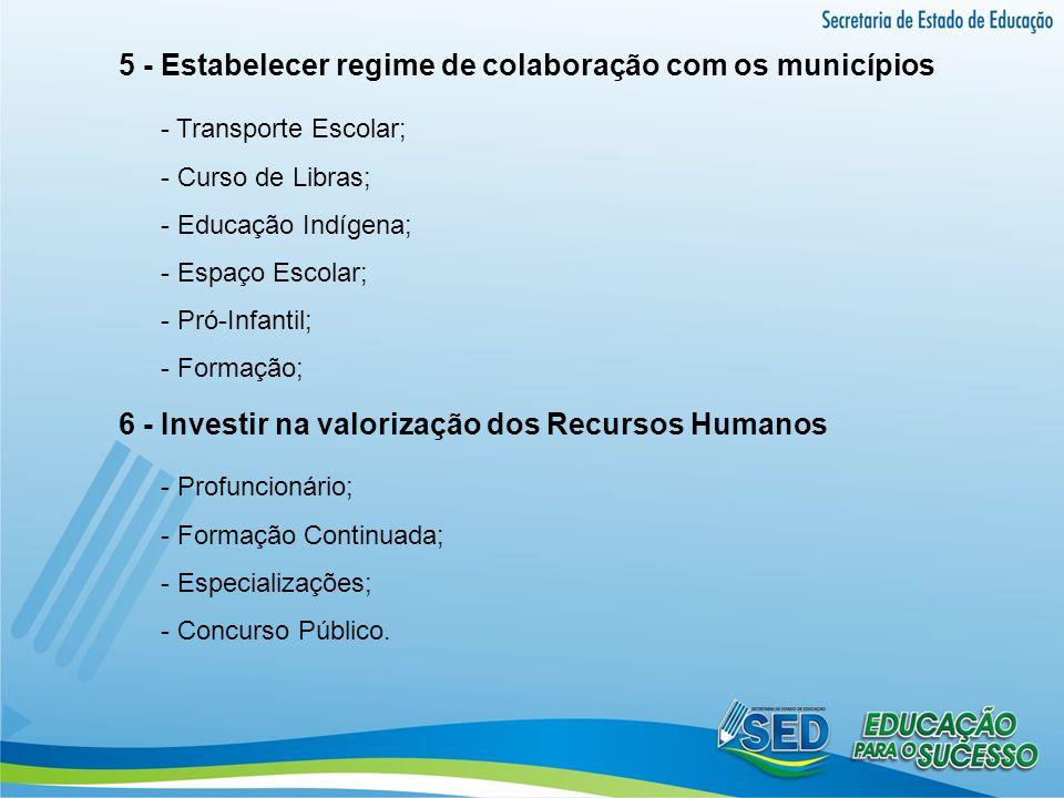 5 - Estabelecer regime de colaboração com os municípios - Transporte Escolar; - Curso de Libras; - Educação Indígena; - Espaço Escolar; - Pró-Infantil