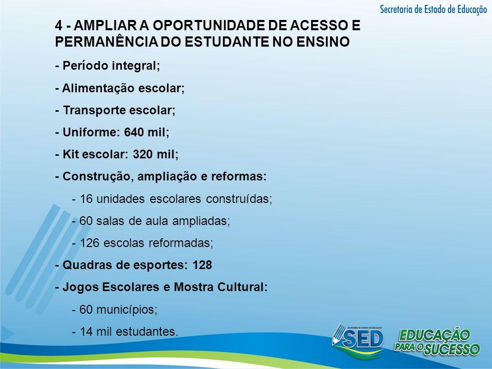 4 - AMPLIAR A OPORTUNIDADE DE ACESSO E PERMANÊNCIA DO ESTUDANTE NO ENSINO - Período integral; - Alimentação escolar; - Transporte escolar; - Uniforme: