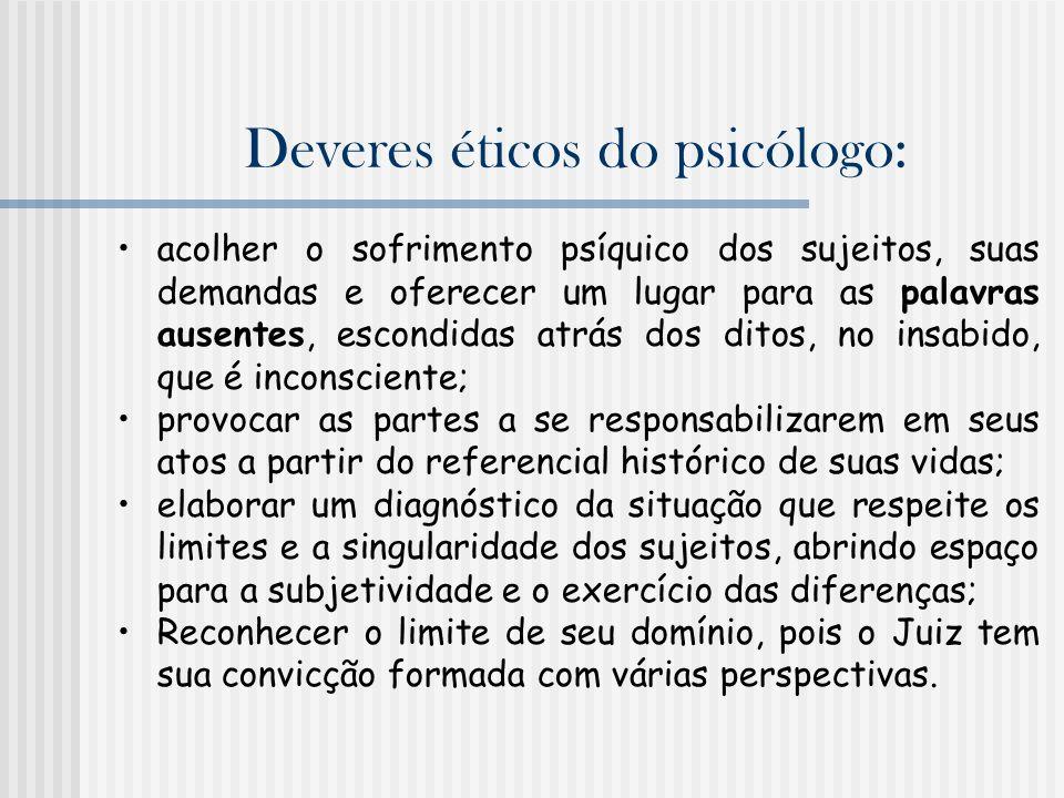 Deveres éticos do psicólogo: acolher o sofrimento psíquico dos sujeitos, suas demandas e oferecer um lugar para as palavras ausentes, escondidas atrás