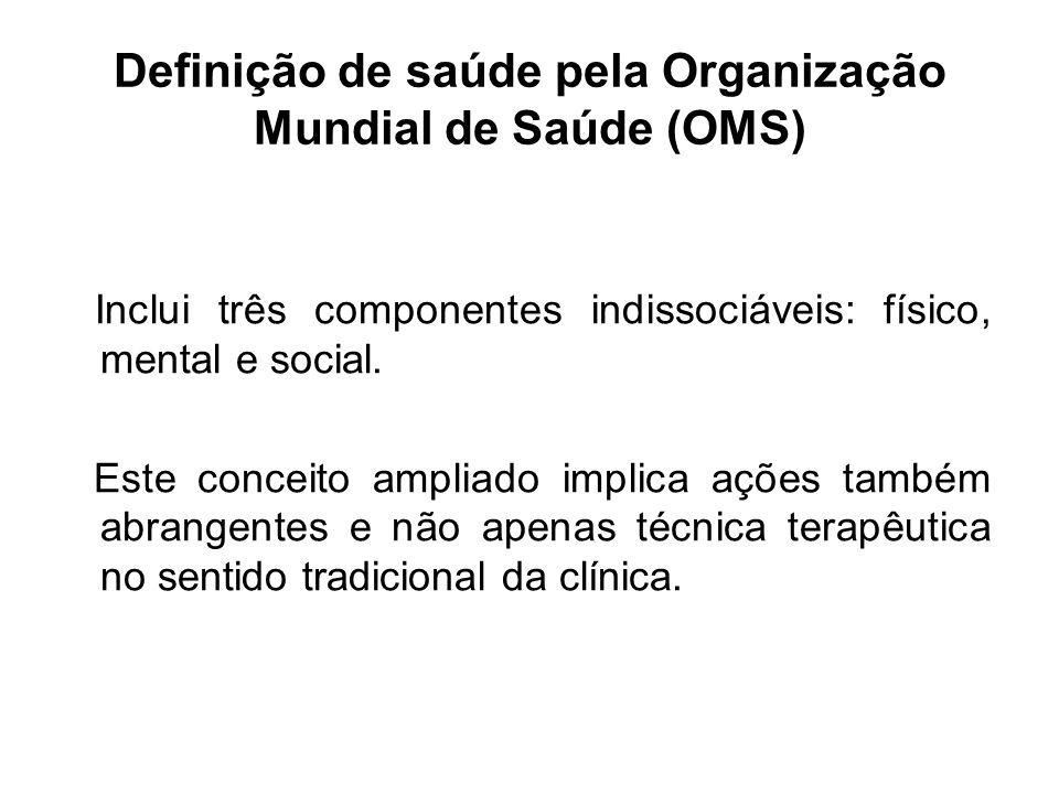 Definição de saúde pela Organização Mundial de Saúde (OMS) Inclui três componentes indissociáveis: físico, mental e social. Este conceito ampliado imp