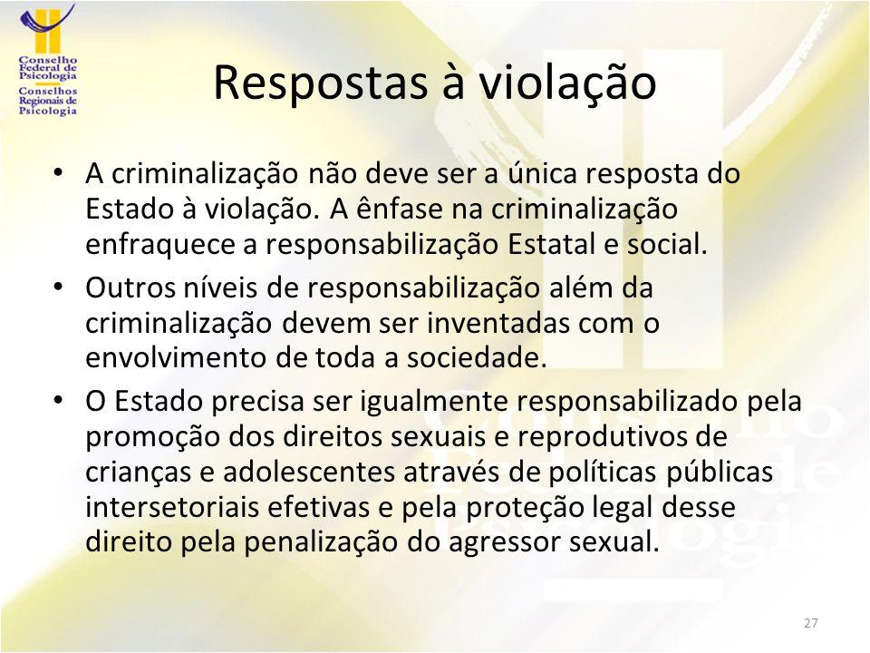 Respostas à violação A criminalização não deve ser a única resposta do Estado à violação.