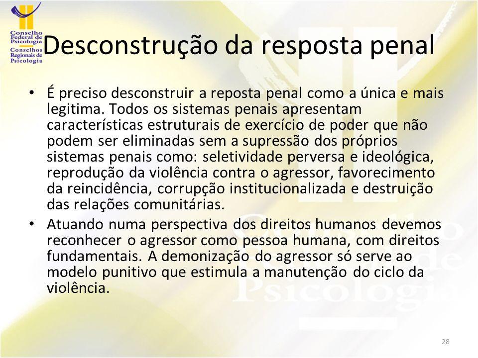 Desconstrução da resposta penal É preciso desconstruir a reposta penal como a única e mais legitima.