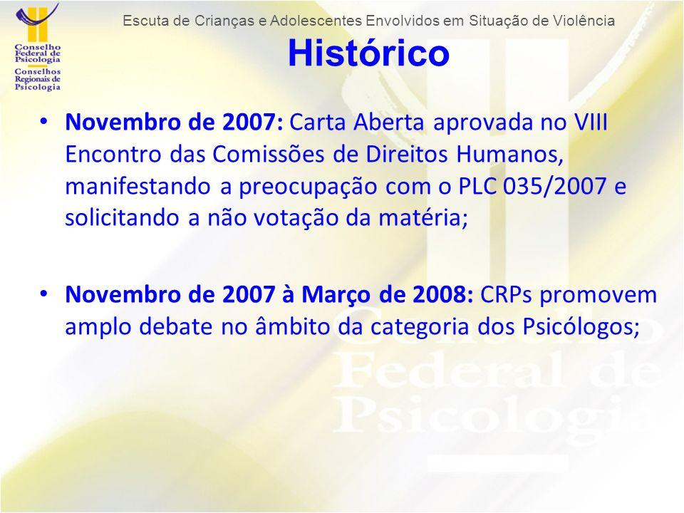 Novembro de 2007: Carta Aberta aprovada no VIII Encontro das Comissões de Direitos Humanos, manifestando a preocupação com o PLC 035/2007 e solicitando a não votação da matéria; Novembro de 2007 à Março de 2008: CRPs promovem amplo debate no âmbito da categoria dos Psicólogos; Escuta de Crianças e Adolescentes Envolvidos em Situação de Violência Histórico