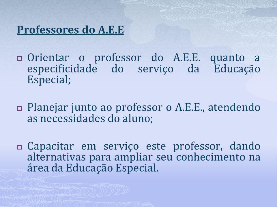 Professores do A.E.E Orientar o professor do A.E.E. quanto a especificidade do serviço da Educação Especial; Planejar junto ao professor o A.E.E., ate