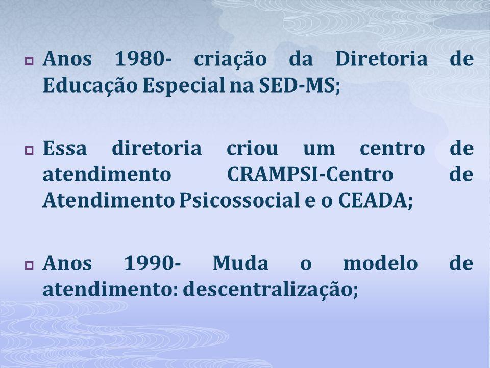 Anos 1980- criação da Diretoria de Educação Especial na SED-MS; Essa diretoria criou um centro de atendimento CRAMPSI-Centro de Atendimento Psicossoci