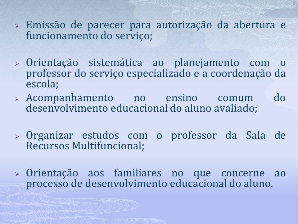 Emissão de parecer para autorização da abertura e funcionamento do serviço; Orientação sistemática ao planejamento com o professor do serviço especial