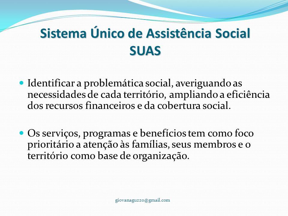 Sistema Único de Assistência Social SUAS Identificar a problemática social, averiguando as necessidades de cada território, ampliando a eficiência dos