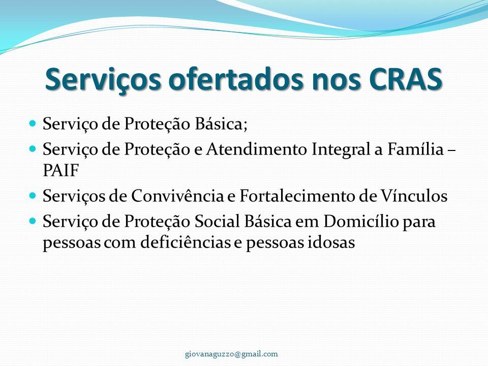 Serviços ofertados nos CRAS Serviço de Proteção Básica; Serviço de Proteção e Atendimento Integral a Família – PAIF Serviços de Convivência e Fortalec