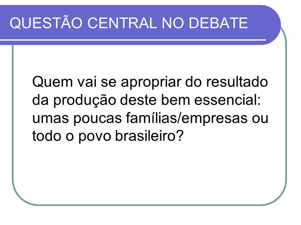 QUESTÃO CENTRAL NO DEBATE Quem vai se apropriar do resultado da produção deste bem essencial: umas poucas famílias/empresas ou todo o povo brasileiro?
