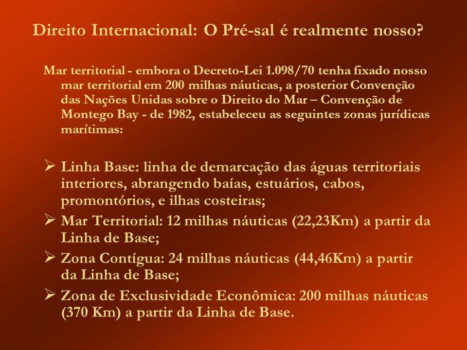 Direito Internacional: O Pré-sal é realmente nosso? Mar territorial - embora o Decreto-Lei 1.098/70 tenha fixado nosso mar territorial em 200 milhas n