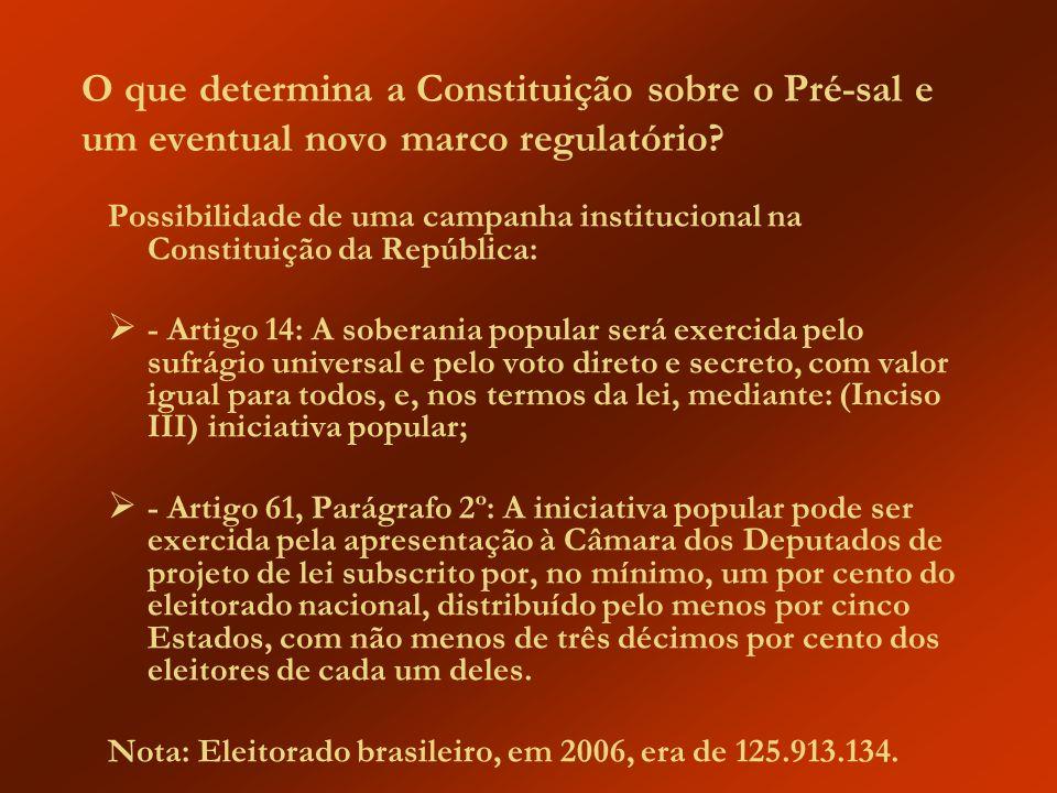 O que determina a Constituição sobre o Pré-sal e um eventual novo marco regulatório? Possibilidade de uma campanha institucional na Constituição da Re