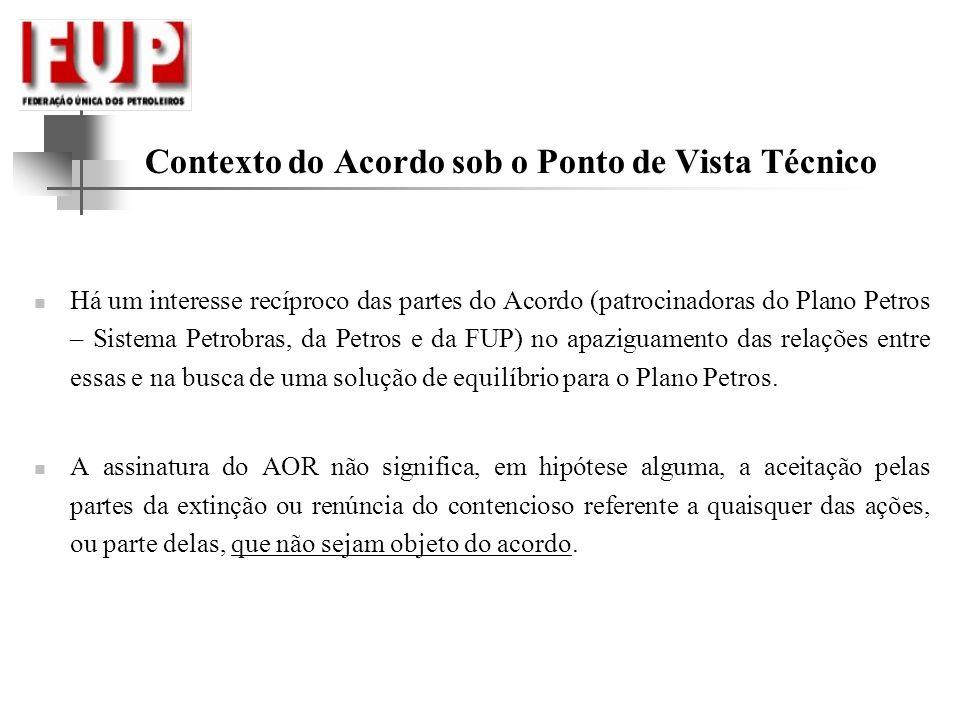 Contexto do Acordo sob o Ponto de Vista Técnico Há um interesse recíproco das partes do Acordo (patrocinadoras do Plano Petros – Sistema Petrobras, da