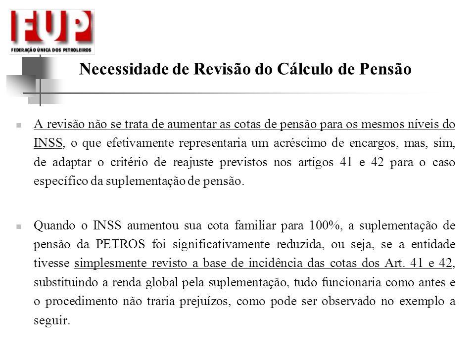 Necessidade de Revisão do Cálculo de Pensão A revisão não se trata de aumentar as cotas de pensão para os mesmos níveis do INSS, o que efetivamente re