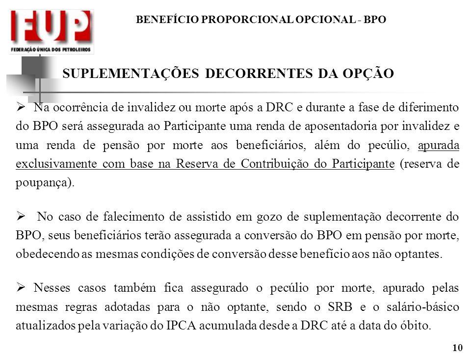 BENEFÍCIO PROPORCIONAL OPCIONAL - BPO 10 SUPLEMENTAÇÕES DECORRENTES DA OPÇÃO Na ocorrência de invalidez ou morte após a DRC e durante a fase de diferi