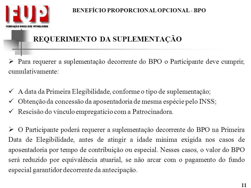 BENEFÍCIO PROPORCIONAL OPCIONAL - BPO 11 REQUERIMENTO DA SUPLEMENTAÇÃO Para requerer a suplementação decorrente do BPO o Participante deve cumprir, cu