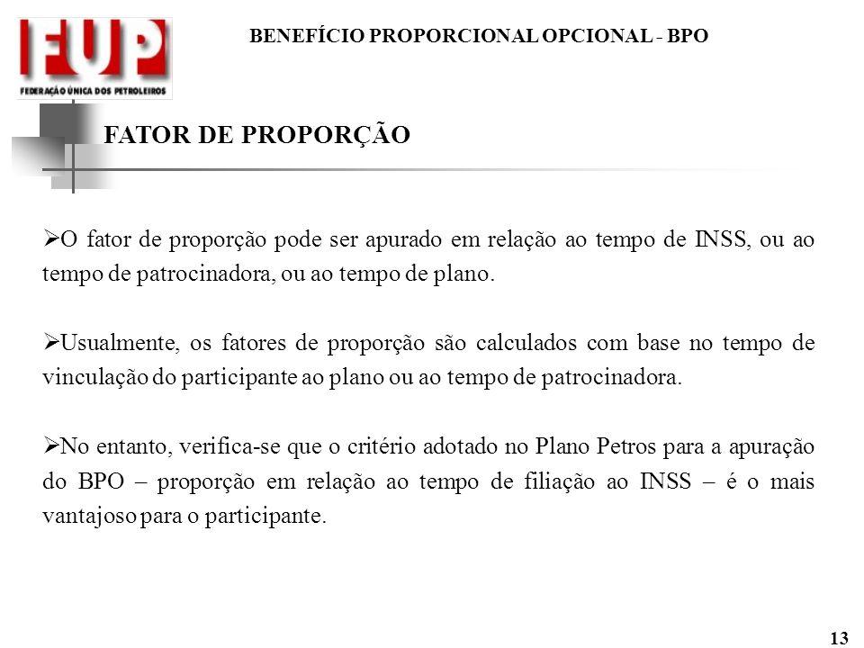 BENEFÍCIO PROPORCIONAL OPCIONAL - BPO 13 FATOR DE PROPORÇÃO O fator de proporção pode ser apurado em relação ao tempo de INSS, ou ao tempo de patrocin