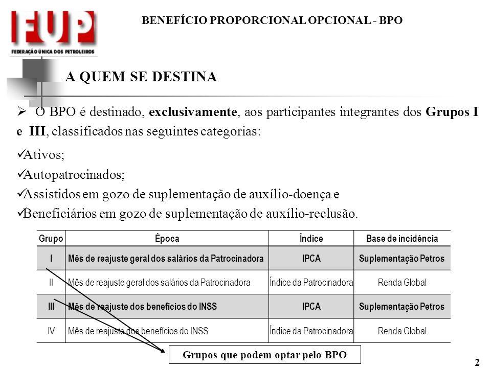 BENEFÍCIO PROPORCIONAL OPCIONAL - BPO 2 A QUEM SE DESTINA O BPO é destinado, exclusivamente, aos participantes integrantes dos Grupos I e III, classif