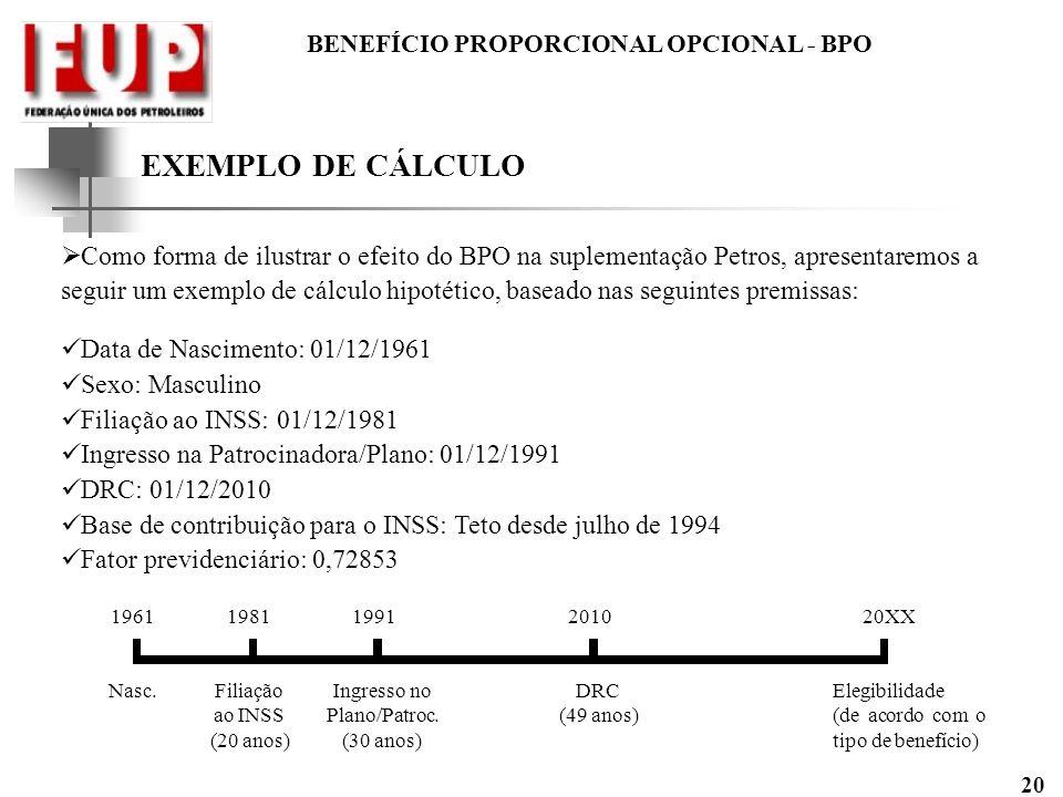 BENEFÍCIO PROPORCIONAL OPCIONAL - BPO 20 EXEMPLO DE CÁLCULO Como forma de ilustrar o efeito do BPO na suplementação Petros, apresentaremos a seguir um