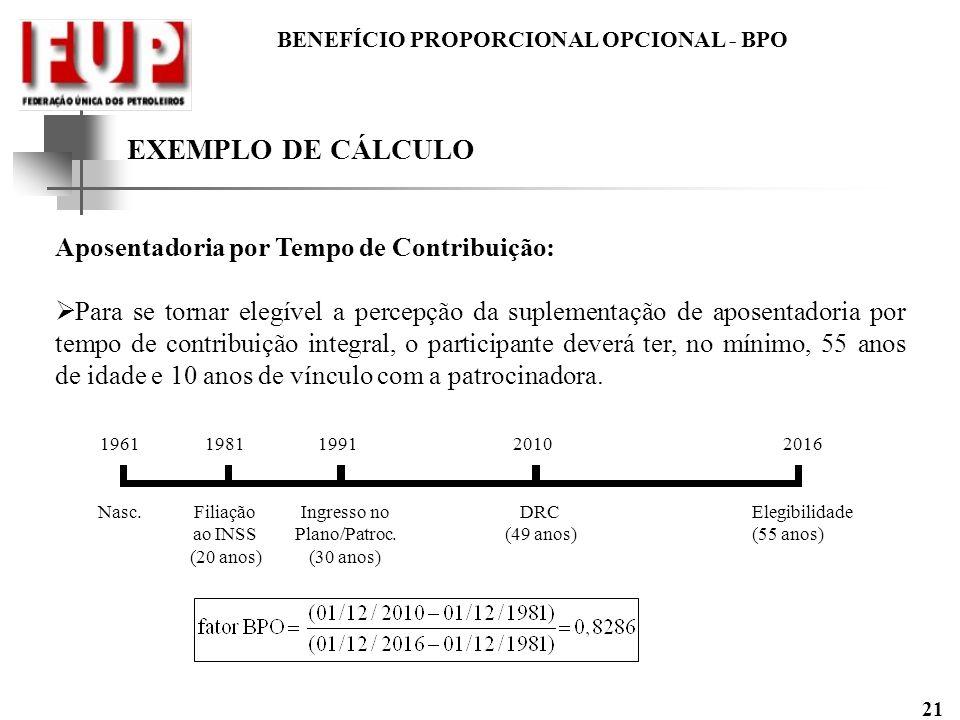 BENEFÍCIO PROPORCIONAL OPCIONAL - BPO 21 EXEMPLO DE CÁLCULO Aposentadoria por Tempo de Contribuição: Para se tornar elegível a percepção da suplementa