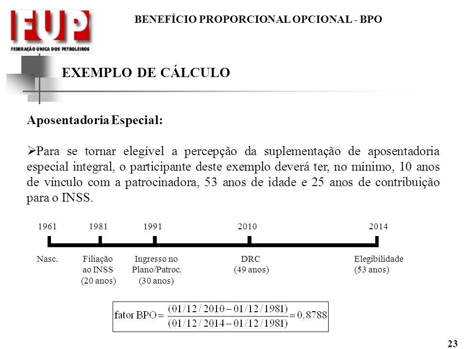 BENEFÍCIO PROPORCIONAL OPCIONAL - BPO 23 EXEMPLO DE CÁLCULO Aposentadoria Especial: Para se tornar elegível a percepção da suplementação de aposentado