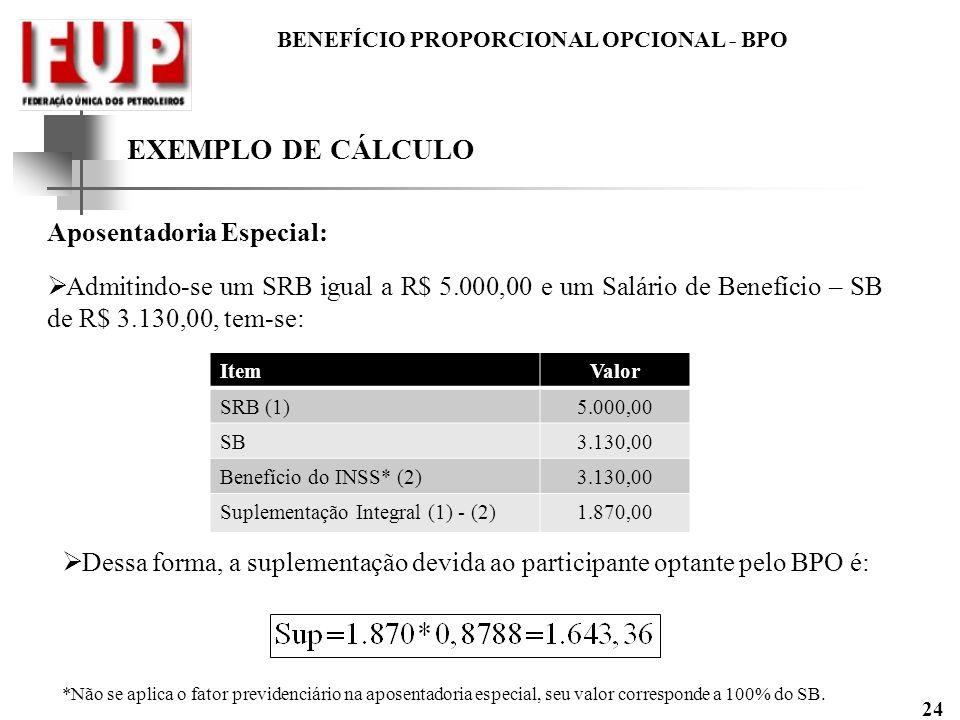 BENEFÍCIO PROPORCIONAL OPCIONAL - BPO 24 EXEMPLO DE CÁLCULO Aposentadoria Especial: Admitindo-se um SRB igual a R$ 5.000,00 e um Salário de Benefício