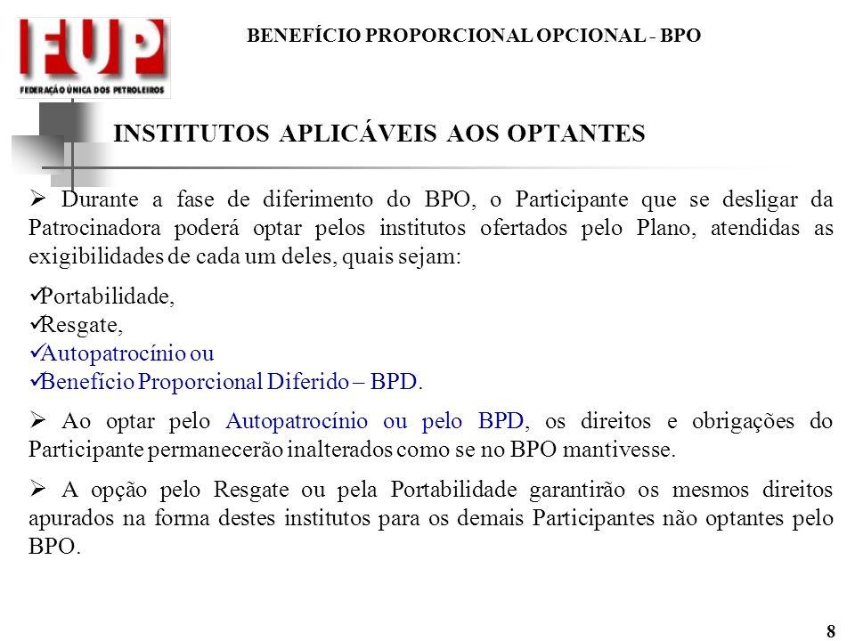BENEFÍCIO PROPORCIONAL OPCIONAL - BPO 8 INSTITUTOS APLICÁVEIS AOS OPTANTES Durante a fase de diferimento do BPO, o Participante que se desligar da Pat