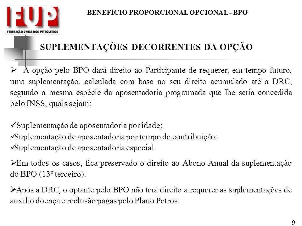 BENEFÍCIO PROPORCIONAL OPCIONAL - BPO 9 SUPLEMENTAÇÕES DECORRENTES DA OPÇÃO A opção pelo BPO dará direito ao Participante de requerer, em tempo futuro