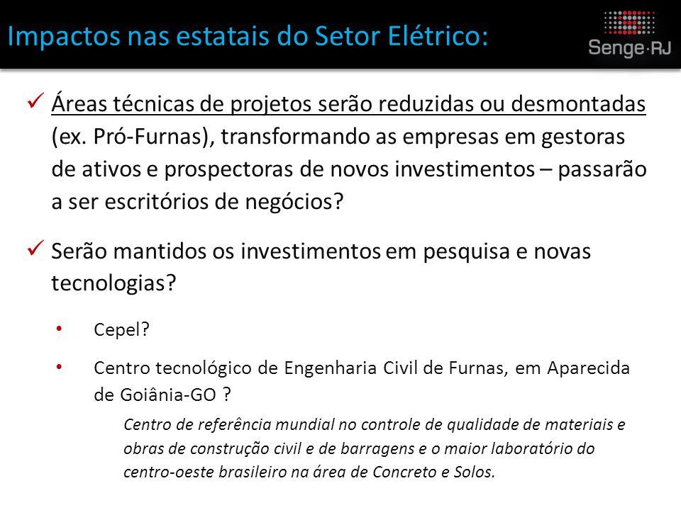 Impactos nas estatais do Setor Elétrico: Áreas técnicas de projetos serão reduzidas ou desmontadas (ex.