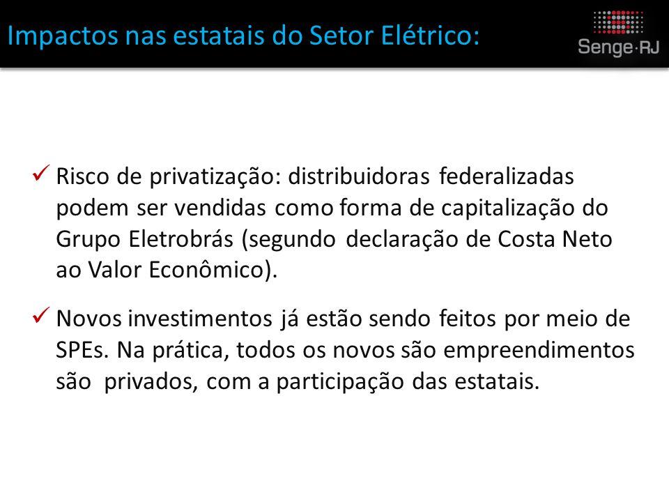 Impactos nas estatais do Setor Elétrico: Risco de privatização: distribuidoras federalizadas podem ser vendidas como forma de capitalização do Grupo Eletrobrás (segundo declaração de Costa Neto ao Valor Econômico).