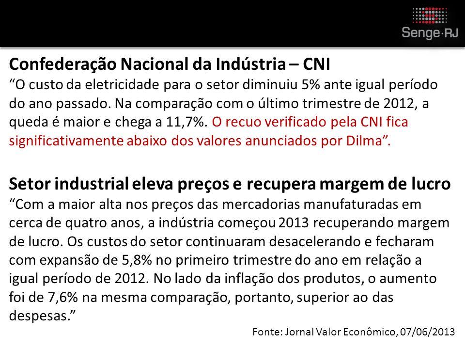 Confederação Nacional da Indústria – CNI O custo da eletricidade para o setor diminuiu 5% ante igual período do ano passado.