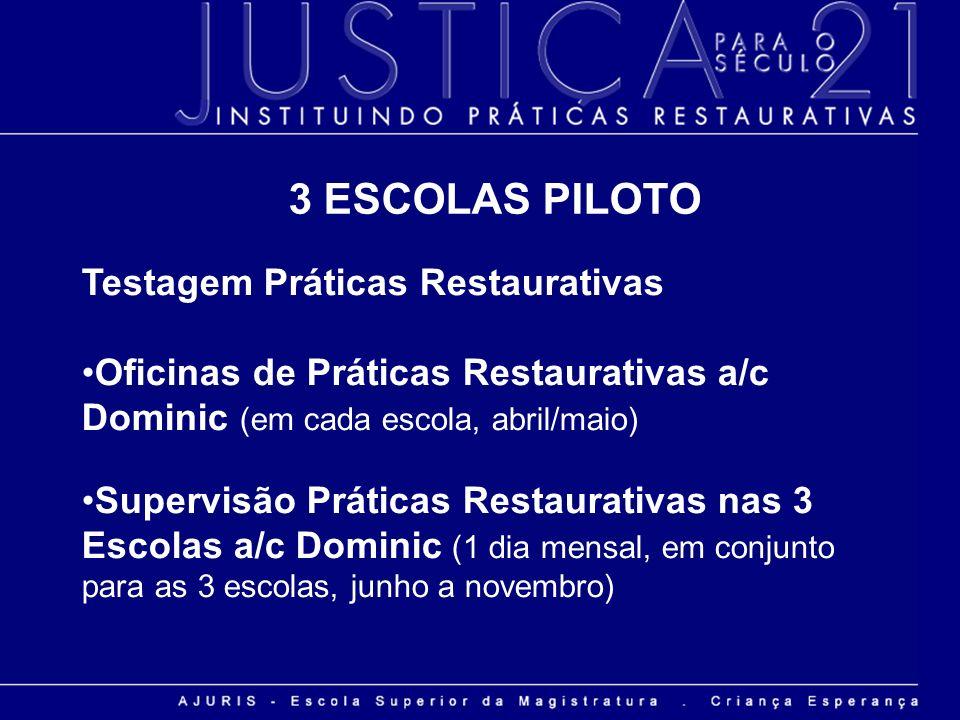 Testagem Práticas Restaurativas Oficinas de Práticas Restaurativas a/c Dominic (em cada escola, abril/maio) Supervisão Práticas Restaurativas nas 3 Es
