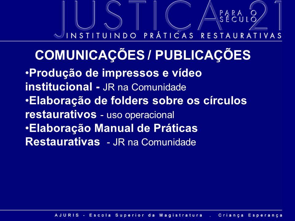 Produção de impressos e vídeo institucional - JR na Comunidade Elaboração de folders sobre os círculos restaurativos - uso operacional Elaboração Manu