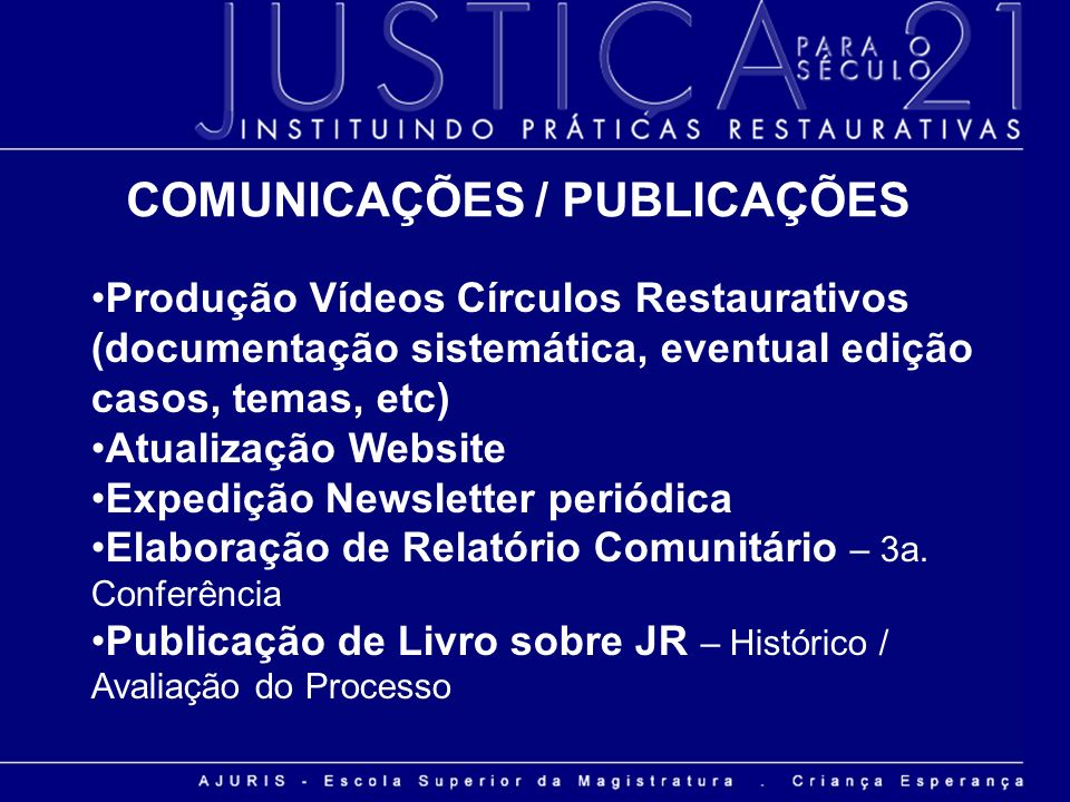 Produção Vídeos Círculos Restaurativos (documentação sistemática, eventual edição casos, temas, etc) Atualização Website Expedição Newsletter periódic