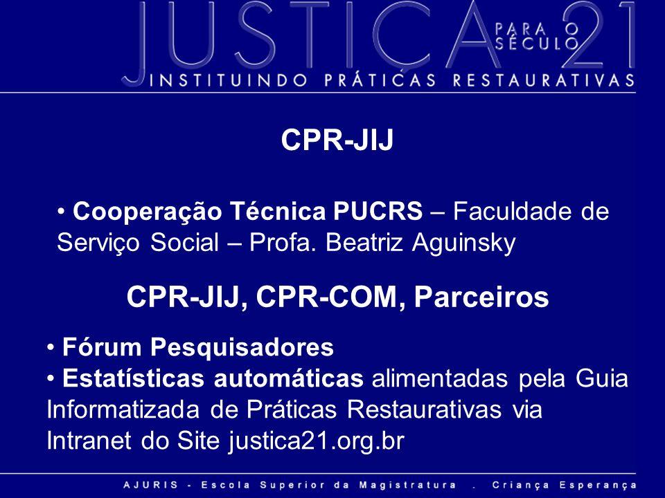 Cooperação Técnica PUCRS – Faculdade de Serviço Social – Profa. Beatriz Aguinsky CPR-JIJ CPR-JIJ, CPR-COM, Parceiros Fórum Pesquisadores Estatísticas