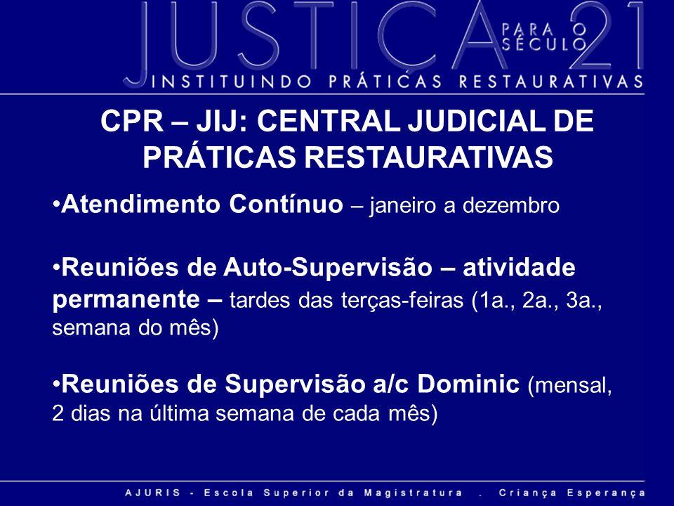 CPR – JIJ: CENTRAL JUDICIAL DE PRÁTICAS RESTAURATIVAS Atendimento Contínuo – janeiro a dezembro Reuniões de Auto-Supervisão – atividade permanente – t