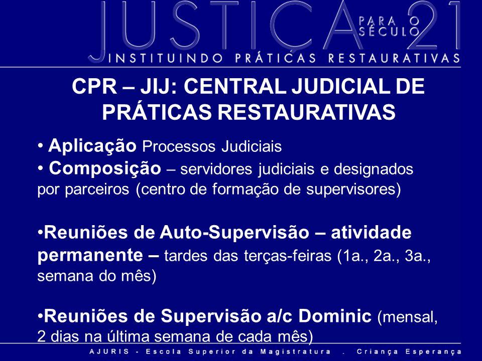 CPR – JIJ: CENTRAL JUDICIAL DE PRÁTICAS RESTAURATIVAS Aplicação Processos Judiciais Composição – servidores judiciais e designados por parceiros (cent