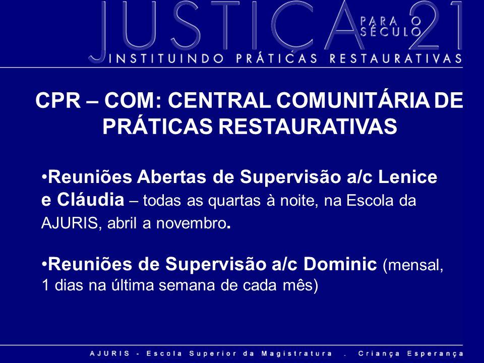 Reuniões Abertas de Supervisão a/c Lenice e Cláudia – todas as quartas à noite, na Escola da AJURIS, abril a novembro. Reuniões de Supervisão a/c Domi