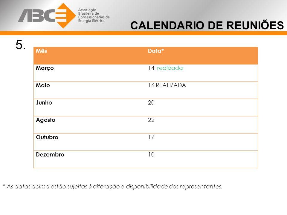 CALENDARIO DE REUNIÕES 5.