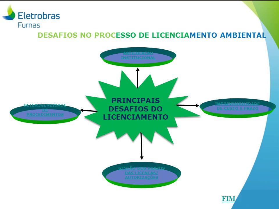 DESAFIOS NO PROCESSO DE LICENCIAMENTO AMBIENTAL HETEROGENEIDADE DE PROCEDIMENTOS CENTRAIS ELÉTRICAS S.A. FURNAS ARTICULAÇÃO INSTITUCIONAL GESTÃO DOS P