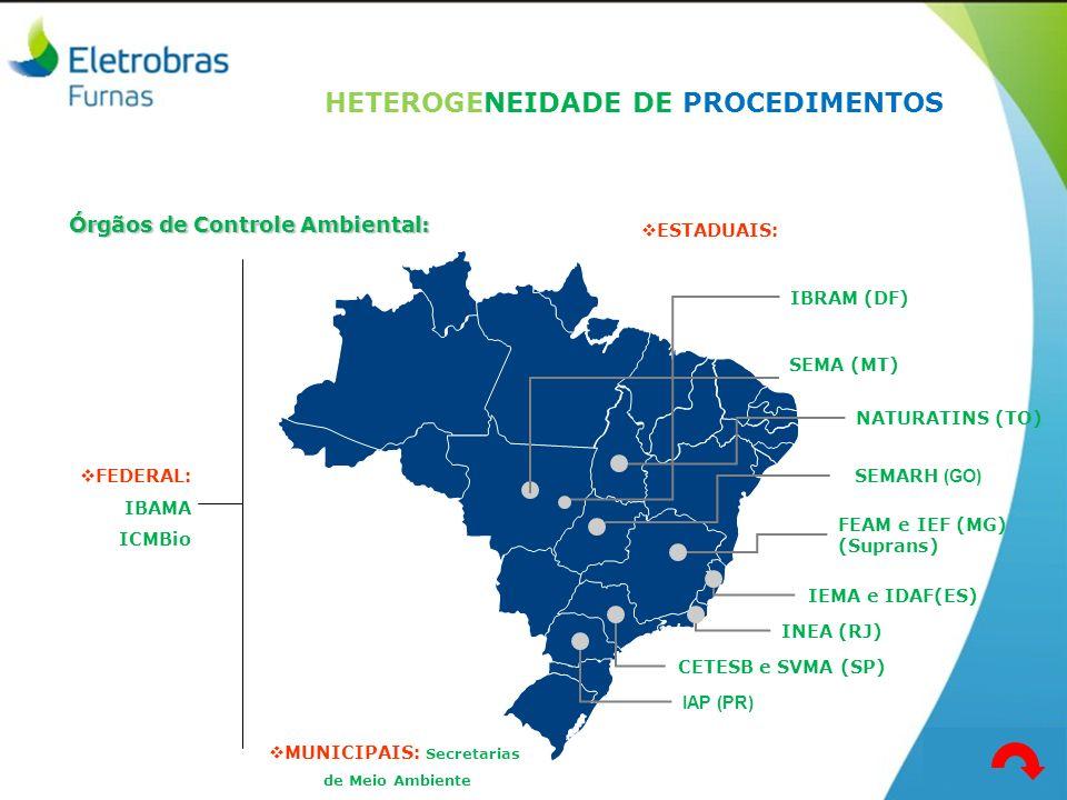 Órgãos de Controle Ambiental: CETESB e SVMA (SP) FEAM e IEF (MG) (Suprans) INEA (RJ) IEMA e IDAF(ES) ESTADUAIS: SEMARH (GO) IAP (PR) NATURATINS (TO) S